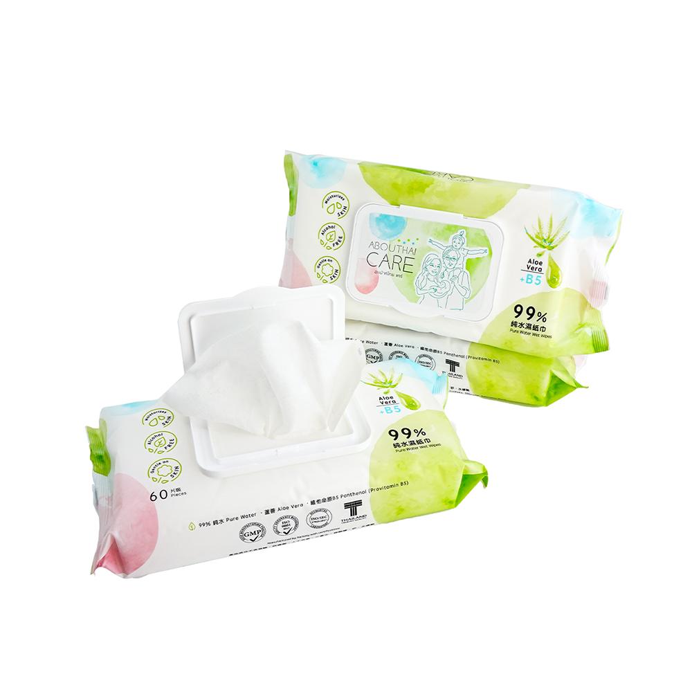 Abouthai Care 99%純水濕紙巾 (含蘆薈及B5保濕精華) 60片