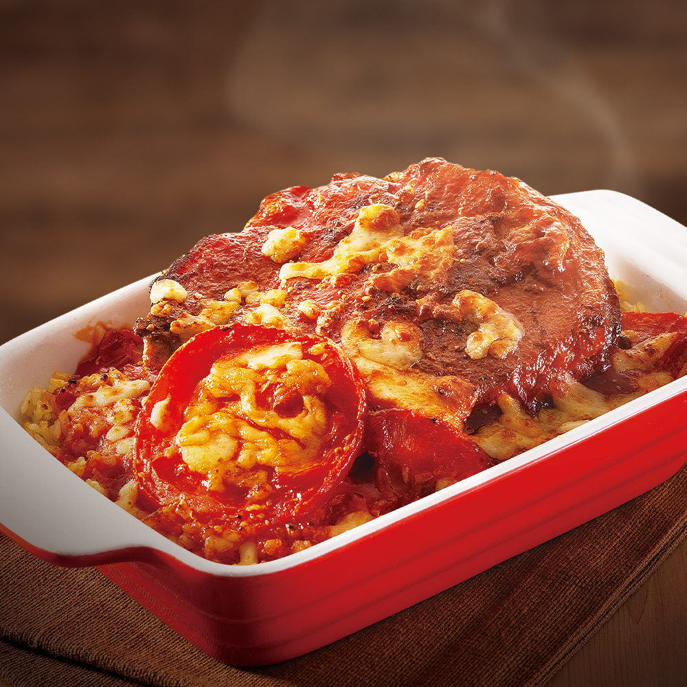 鲜茄浓汁焗厚切猪扒饭