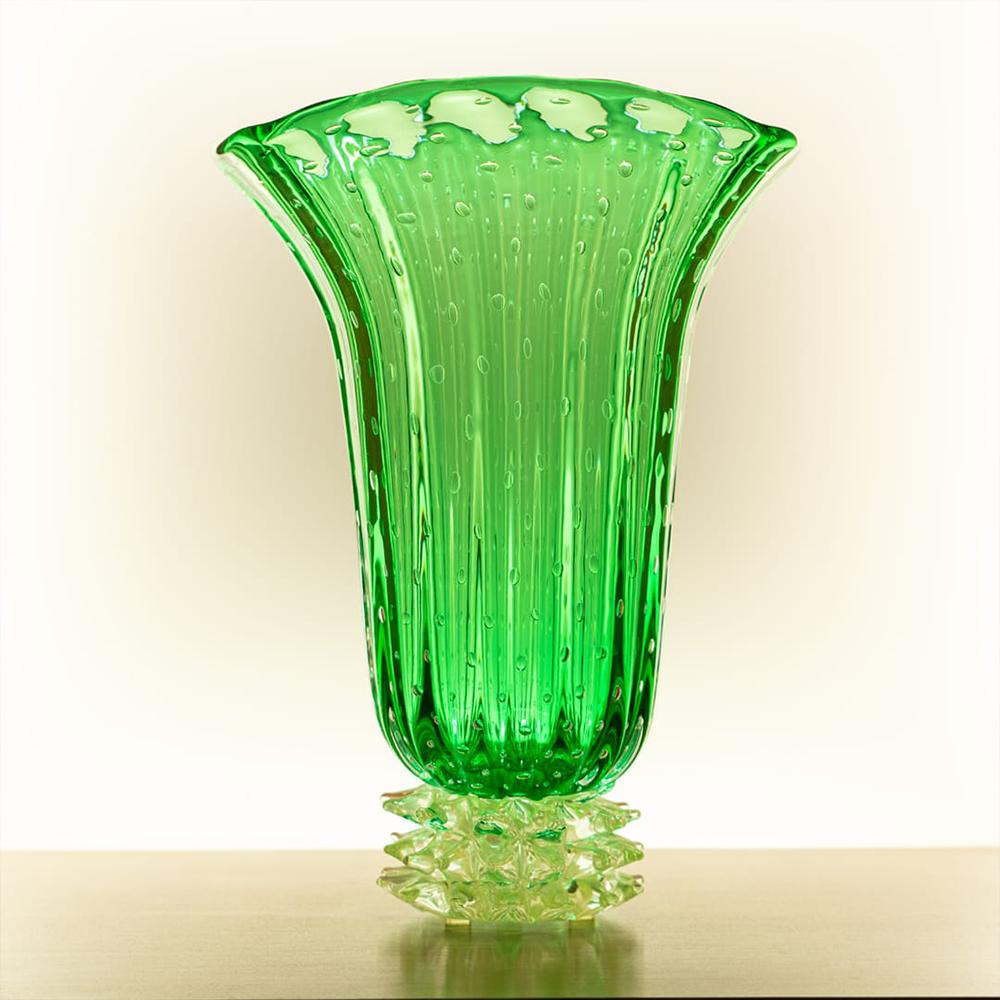 名贵意大利绿色手造水晶花瓶