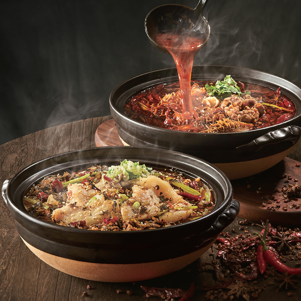Poached Fish Fillet with Pickled Mustard Green in Chilli & Sour Soup Poached Sliced Beef & Beef Tripe in Hot Chilli Oil