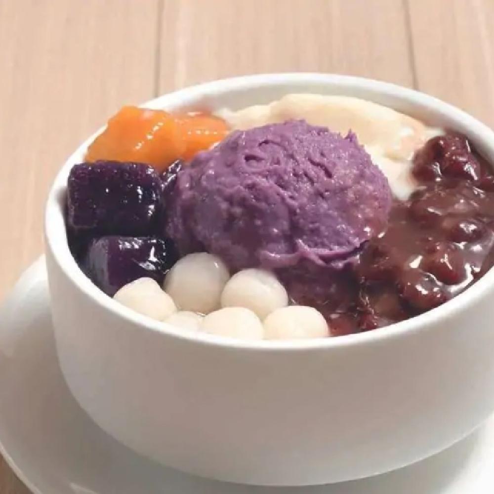 Mashed Purple Sweet Potato with Tofu Pudding, Taro Ball Red Bean, Mini Glutinous Rice Balls and Coconut Milk
