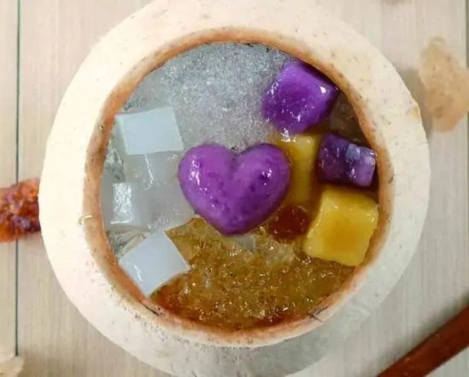 Taro Peach Gum and Coconut Milk Custard in Coconut Milk