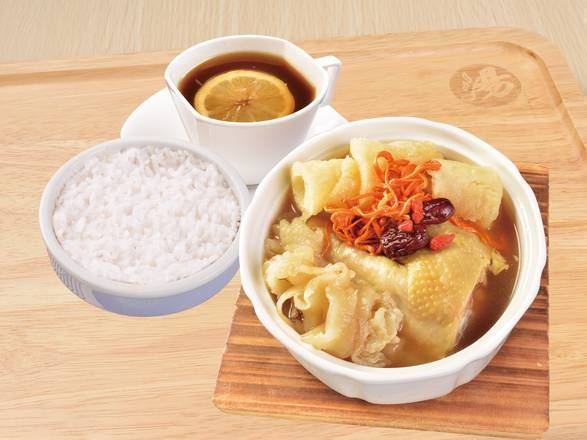Stewed Cordyceps Flowers, Dried Fish Maw and Chicken with Soup in Rice