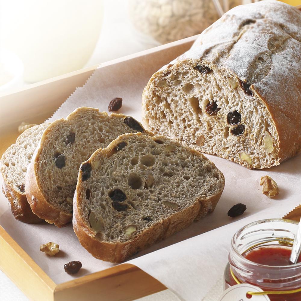 Light Rye Walnut Raisin Bread