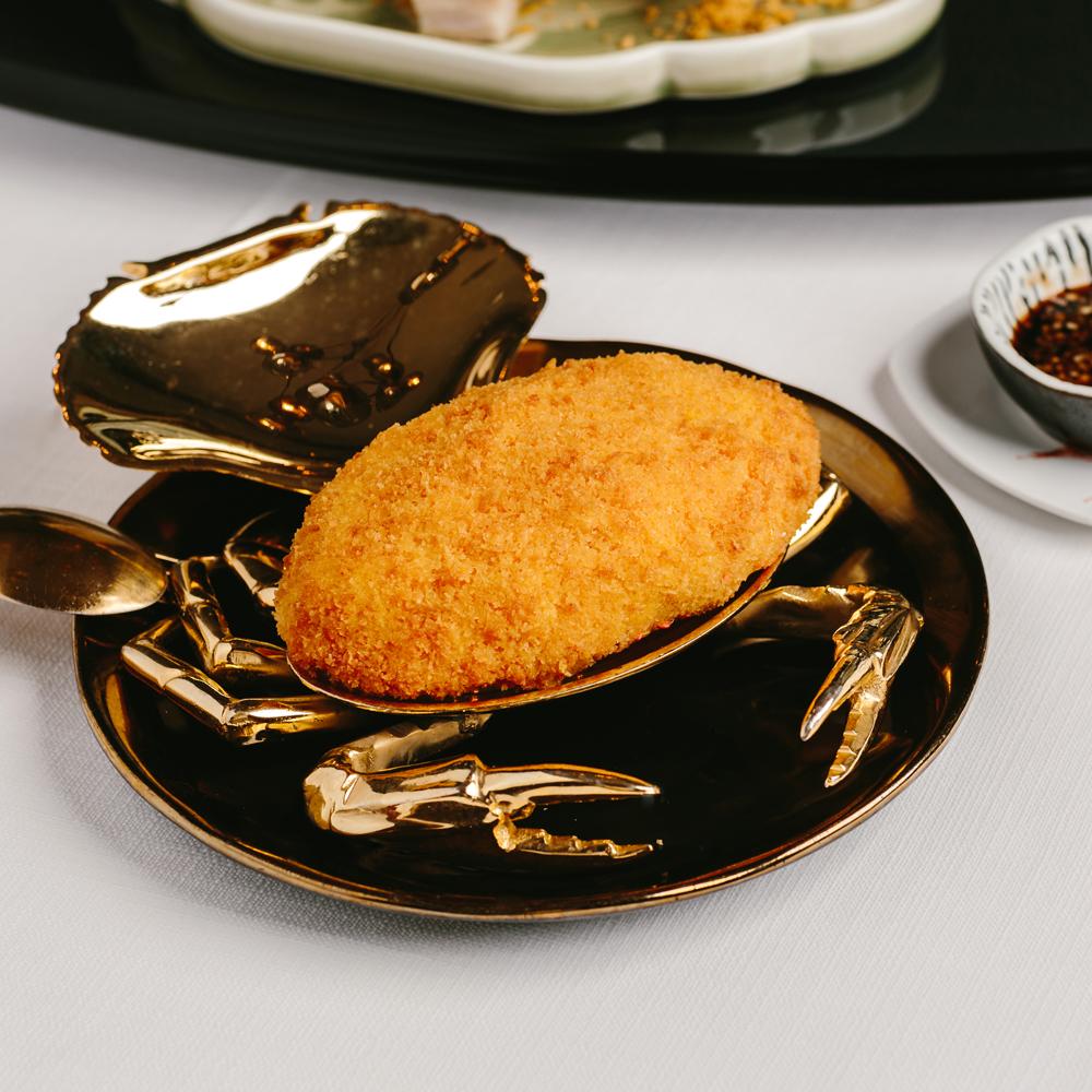 Crispy stuffed Crab Shell with 3.6 Hokkaido Milk